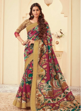 Bhagalpuri Silk Beige and Fuchsia Contemporary Saree