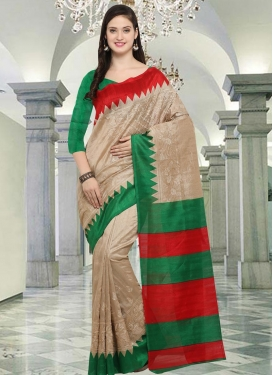 Bhagalpuri Silk Beige and Green Embroidered Work Contemporary Style Saree