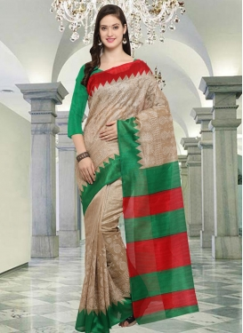 Bhagalpuri Silk Beige and Green Trendy Saree