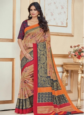 Bhagalpuri Silk Beige and Grey Trendy Classic Saree For Casual