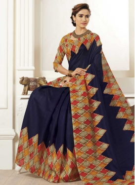 Bhagalpuri Silk Beige and Navy Blue Trendy Classic Saree For Casual