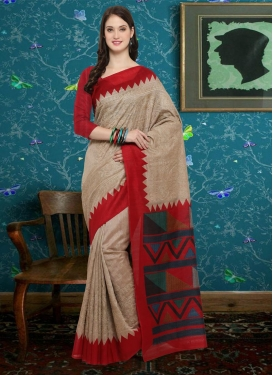 Bhagalpuri Silk Beige and Red Contemporary Saree