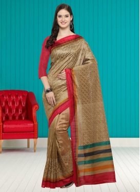 Bhagalpuri Silk Beige and Red Contemporary Saree For Casual
