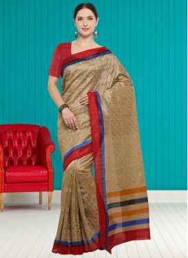 Bhagalpuri Silk Beige and Red Traditional Saree