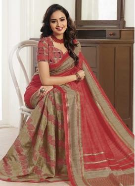 Bhagalpuri Silk Beige and Salmon Trendy Saree For Casual