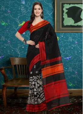 Bhagalpuri Silk Black and Red Traditional Saree