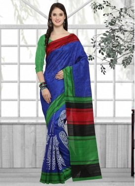 Bhagalpuri Silk Blue and Green Trendy Classic Saree
