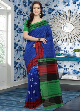 Bhagalpuri Silk Blue and Green Trendy Classic Saree For Casual