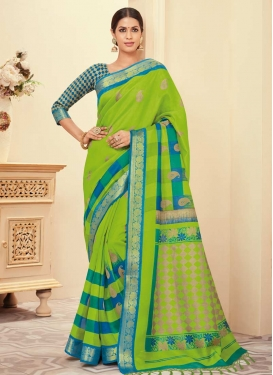 Bhagalpuri Silk Blue and Mint Green Contemporary Style Saree
