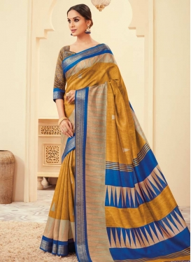 Bhagalpuri Silk Blue and Mustard Contemporary Saree
