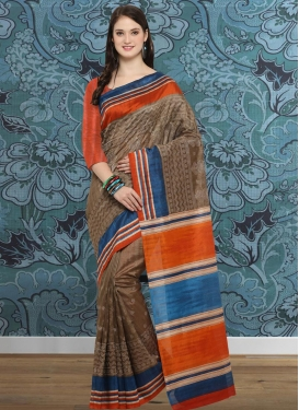 Bhagalpuri Silk Brown and Orange Trendy Classic Saree For Casual