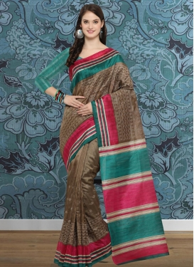 Bhagalpuri Silk Brown and Teal Embroidered Work Contemporary Saree