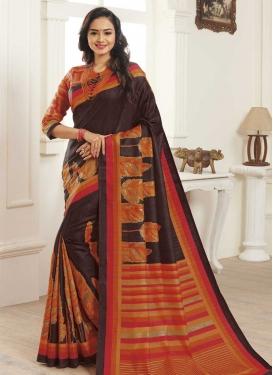 Bhagalpuri Silk Digital Print Work Coffee Brown and Orange Traditional Designer Saree