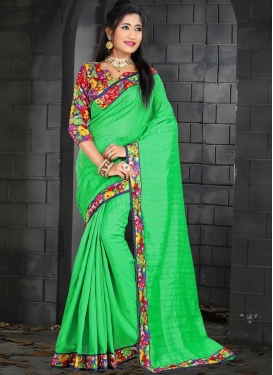 Bhagalpuri Silk Digital Print Work Mint Green and Red Classic Saree