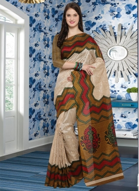 Bhagalpuri Silk Embroidered Work Beige and Gold Contemporary Style Saree