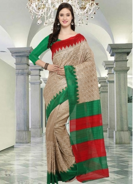 Bhagalpuri Silk Embroidered Work Beige and Green Contemporary Style Saree