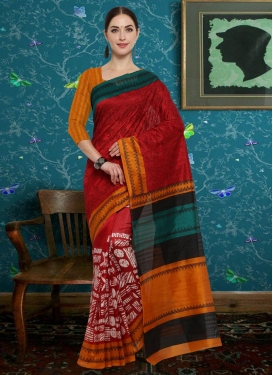 Bhagalpuri Silk Embroidered Work Contemporary Style Saree