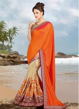 Bhagalpuri Silk Embroidered Work Half N Half Trendy Saree