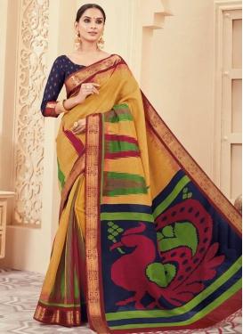 Bhagalpuri Silk Gold and Navy Blue Trendy Classic Saree