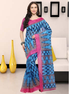 Bhagalpuri Silk Grey and Light Blue Contemporary Style Saree For Casual