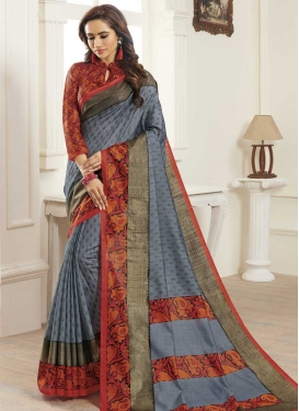 Bhagalpuri Silk Grey and Orange Contemporary Saree For Casual