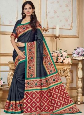 Bhagalpuri Silk Black and Rose Pink Trendy Classic Saree