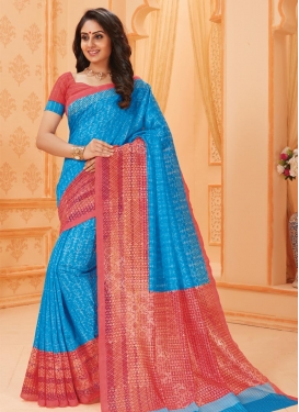 Bhagalpuri Silk Light Blue and Salmon Traditional Saree