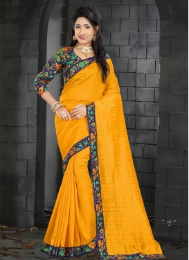 Bhagalpuri Silk Mustard and Navy Blue Digital Print Work Trendy Classic Saree