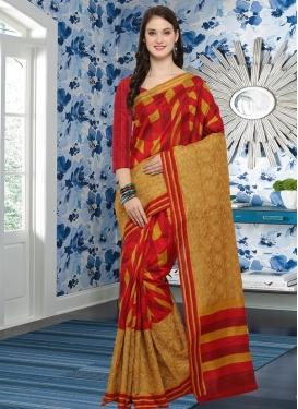 Bhagalpuri Silk Mustard and Red Contemporary Saree