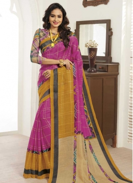 Bhagalpuri Silk Mustard and Rose Pink Designer Contemporary Style Saree