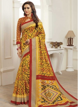 Bhagalpuri Silk Orange and Red Digital Print Work Designer Contemporary Style Saree