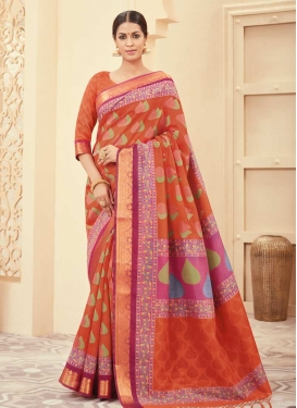 Bhagalpuri Silk Orange and Rose Pink Traditional Saree For Casual