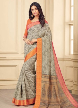 Bhagalpuri Silk Orange and Silver Color Contemporary Style Saree