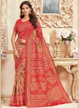 Bhagalpuri Silk Peach and Tomato Trendy Classic Saree For Casual