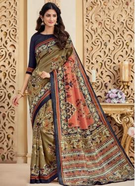 Bhagalpuri Silk Print Work Brown and Coral Trendy Classic Saree