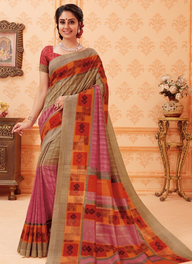 Bhagalpuri Silk Print Work Trendy Classic Saree