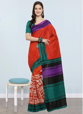 Bhagalpuri Silk Red and Teal Contemporary Style Saree