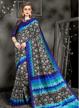 Black and Blue Art Silk Trendy Classic Saree For Casual