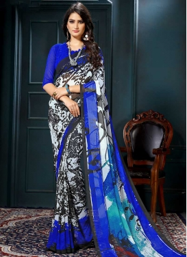 Black and Blue Designer Contemporary Style Saree For Casual