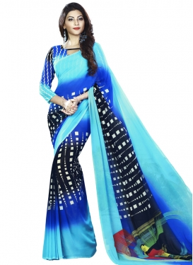 Black and Blue Faux Georgette Classic Saree For Casual
