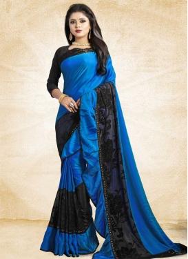 Black and Blue Traditional Designer Saree For Ceremonial