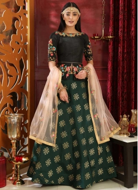 Black and Bottle Green Designer Long Choli Lehenga For Festival
