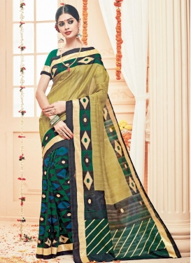 Black and Brown Art Silk Half N Half Saree For Casual