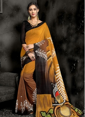 Black and Brown Classic Saree For Casual