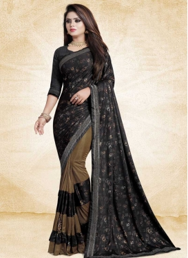 Black and Brown Half N Half Saree