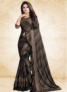 Black and Brown Lace Work Traditional Designer Saree