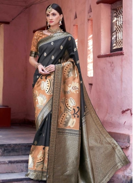 Black and Brown Thread Work Traditional Designer Saree