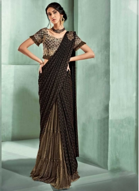 Black and Brown Traditional Designer Saree For Festival