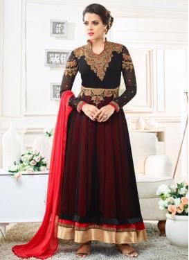 Black and Burgundy Embroidered Work Ankle Length Kalidar Salwar Suit