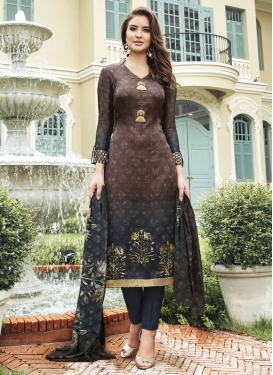 Black and Coffee Brown Pant Style Straight Salwar Suit